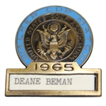 Deane Bemans 1965 Walker Cup Match Contestant Badge