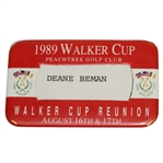 Deane Bemans 1989 Walker Cup at Peachtree Golf Club Reunion Badge