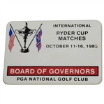 Deane Bemans 1983 Ryder Cup at PGA National Golf Club Board of Governors Badge