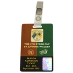 Deane Bemans 1993 Ryder Cup at The Belfry Johnnie Walker Season Admission Badge