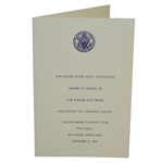 1965 The Walker Cup at Baltimore Country Club Dinner Menu - Deane Beman Collection
