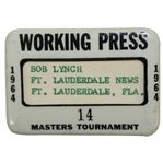 1964 Masters Tournament Working Press Badge #14 - Palmer Final Masters Win