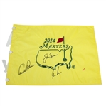 Arnold Palmer, Jack Nicklaus, and Gary Player Signed 2014 Masters Embroidered Flag JSA ALOA