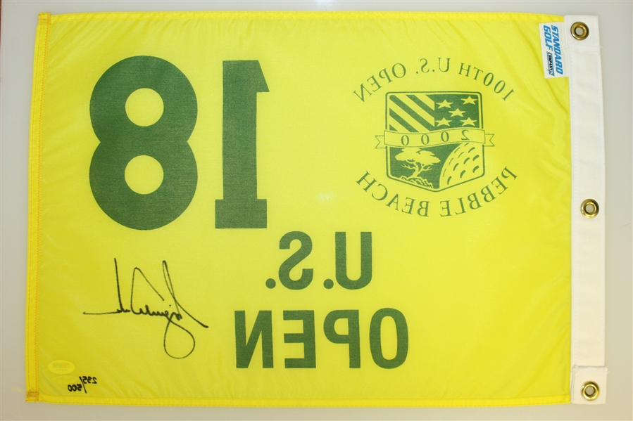 Tiger Woods Signed 2000 US Open at Pebble Beach Ltd Ed Flag 235/500 UDA #BAM07747