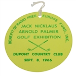 Jack Nicklaus & Arnold Palmer 1966 Exhibition at Dupont Country Club Badge #740
