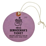 1955 Masters Tournament Servicemans Ticket #299 - Cary Middlecoff Winner