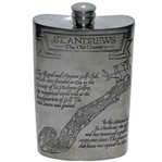 St. Andrews The Old Course Pewter Flask with Course Layout - Great Condition