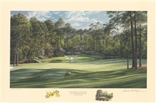 2002 Ltd Ed Augusta National 12th Hole Golden Bell Lithograph by Linda Hartough - 12/950