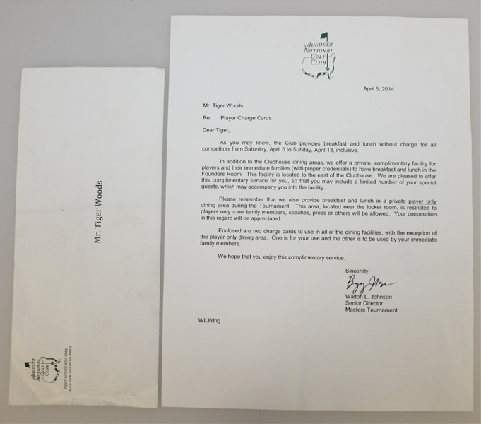 Tiger Woods' Augusta National Issued 2014 Masters Credit Cards with Letter & Envelope