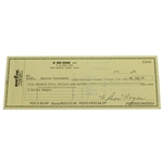 Ben Hogans Signed Personal Check to the Masters Tournament - 1991 JSA ALOA