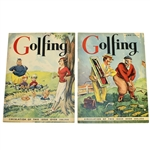 1935 May & June Golfing Magazines - Woman Smoking Cover & Salesman on the Course Cover