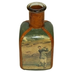Vintage Fausto Conturi Italian Leather Wrapped Golf Themed Square Decanter