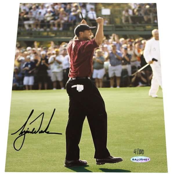 Tiger Woods Signed Ltd Ed 2002 Masters 'Major Moments Photo 4/100 #BAJ25407