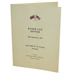 1969 Ryder Cup at The Prince of South Wales Southport Dinner Menu