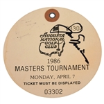 Jack Nicklaus Signed 1986 Masters Monday Paper Ticket #03302 JSA ALOA