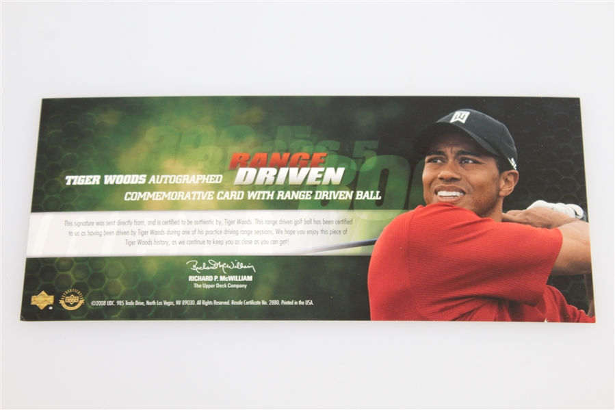 Tiger Woods Signed 2008 Ltd Ed 'Range Driven' Card UDA