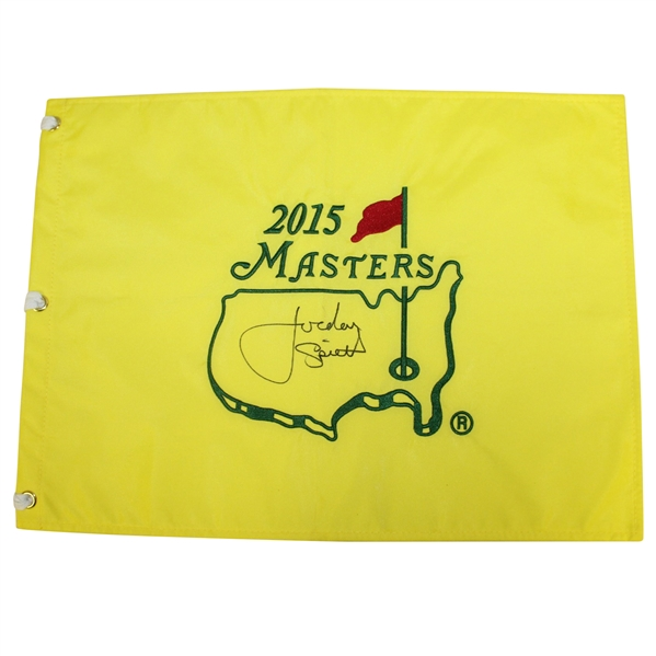 Jordan Spieth Signed 2015 Masters Embroidered Flag - FULL SIGNATURE JSA ALOA