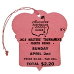 1939 Masters Sunday Final Round Ticket #98 - Seldom Seen Ticket Adverse Weather!</