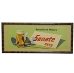 Classic Senate Beer Hole-In-One Remembered Pleasure Golf Advertising Sign - Framed