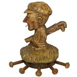 Unique Genuine Burwood Wood Carved Golfer with Golf Bag Wall Tie Holder