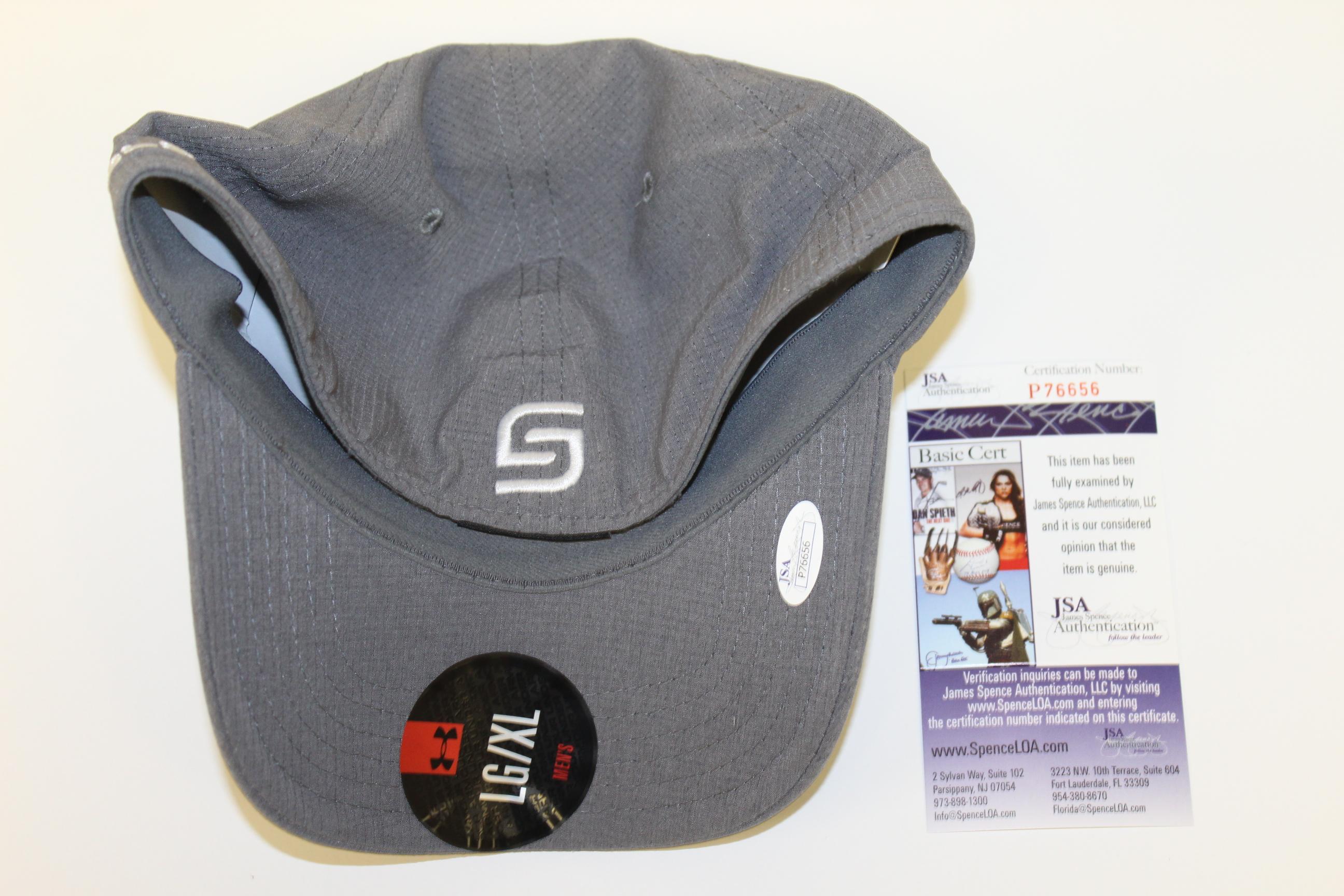 Lot Detail - Jordan Spieth Signed Under Armor Logo Charcoal Gray Hat ... 4e919dd0663b