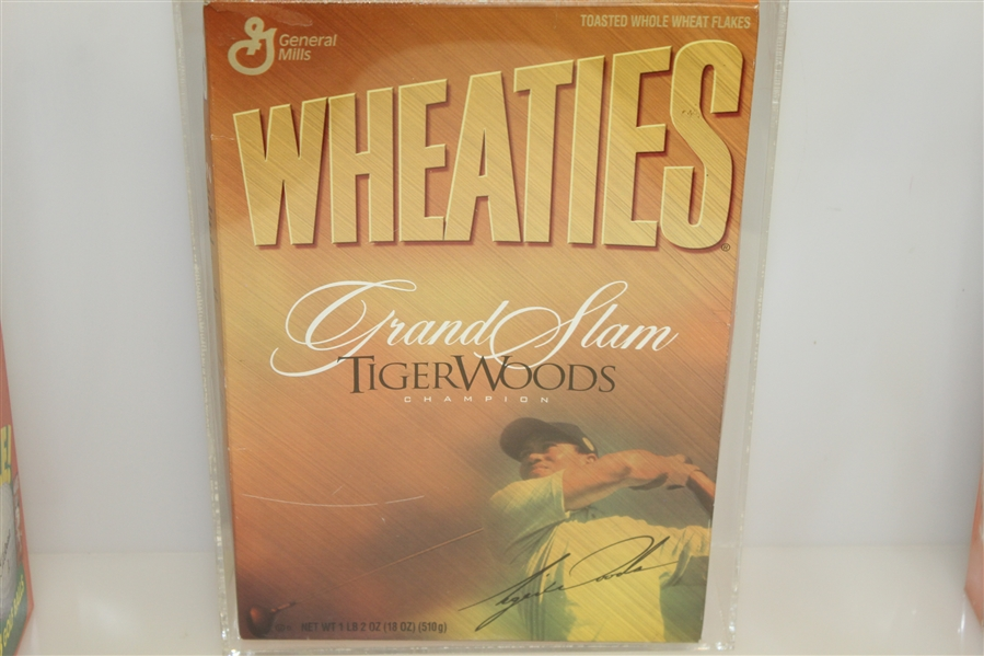 Tiger Woods Commemorative Grand Slam Wheaties Cereal Box with Two Others