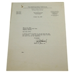 Bobby Robert T Jones, Jr. Jones Signed 1938 Typed Letter to Augusta National JSA ALOA