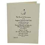 Bob Goalbys 1986 Masters Tournament Invitation from Augusta National Golf Club