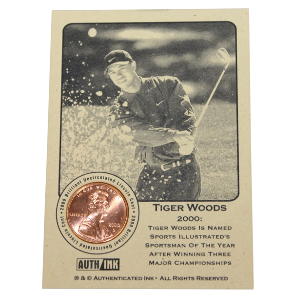 Tiger Woods 2000 'Sportsman of the Year' Lincoln Wheat Penny Card