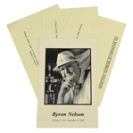 Byron Nelson Funeral Program with Three Memory Notecards for Family