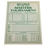 1964 Records of the Masters Tournament Card - Arnold Palmer 4th & Final Win