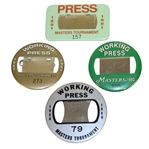 Four Masters Tournament Working Press Badges - 1980, 1988, 1991, & 1993