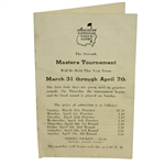 1940 Masters Tournament Spectator Guide
