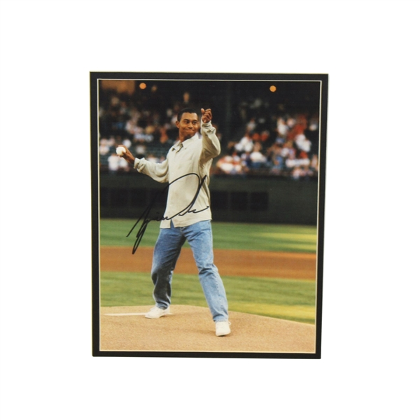 Tiger Woods Signed Matted Photo Throwing Out First Pitch JSA ALOA