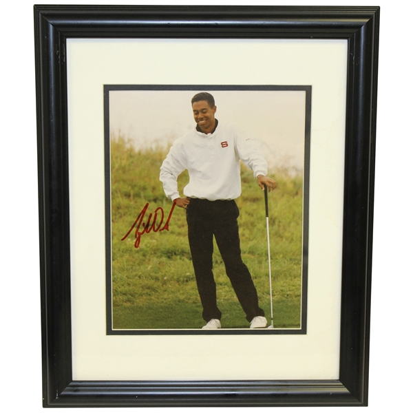 Tiger Woods Vintage Signed Stanford Photo - Framed JSA ALOA