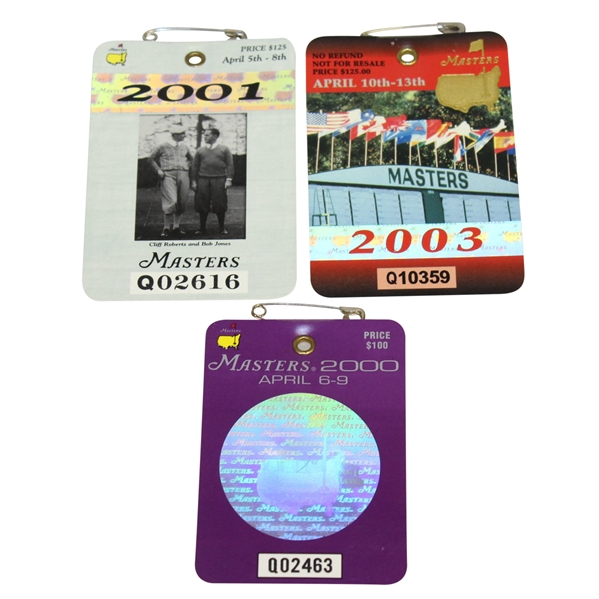 2000, 2001, & 2003 Masters Tournament Series Badges - Singh, Woods, & Weir Winner