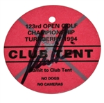Nick Price Signed 1994 Open Championship at Turnberry Club Tent Ticket JSA ALOA