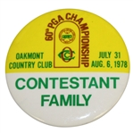 1978 PGA Championship at Oakmont Country Club Contestant Family Badge