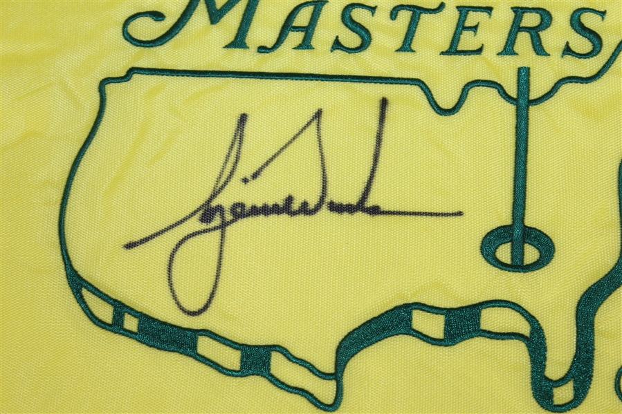 Tiger Woods Signed 2001 Masters Embroidered Flag UDA #SHO25466