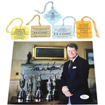 Tom Watson Signed 5 Claret Jugs Photo with 5 Open Tickets from Wins JSA #P82021