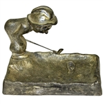 Vintage Golfer Man Art Deco Ashtray - Bending Over Sandtrap - Ball in Footprint