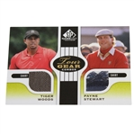 Tiger Woods & Payne Stewart Tour Gear Combo Game Used Golf Card - Two Shirts