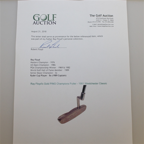 Ray Floyd's GOLD PING Karsten Solheim Awarded Putter (B 60) - 1981 Westchester Classic Win