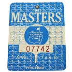1983 Masters Tournament Badge #07742 - Seve Ballesteros Winner