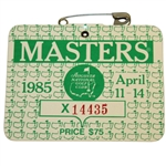 1985 Masters Tournament Badge #X14435 - Bernhard Langer Winner