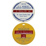 1961 & 1972 US Womens Amateur Championship Bag tags - Doris Phillips