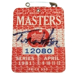 Tom Watson Signed 1981 Masters Series Badge #12080 PSA/DNA #I57731