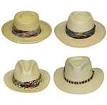 Four Don Cherry Personal Kangol Straw Fancy Strap Golf Hats - Plaid, Blue, Multi, & Thin Brown