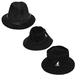 Three Don Cherry Personal Kangol Leather Suede Black Golf Hats - Suede, Logo Side, & Logo Front