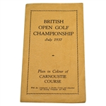 1937 British Open Golf Championship Plan in Colour of Carnoustie Course Pamphlet